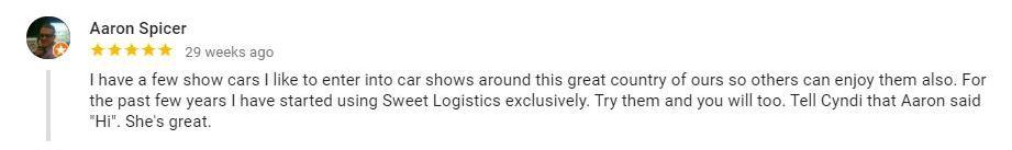 testimonials sweet logistics murrieta ca car shipping